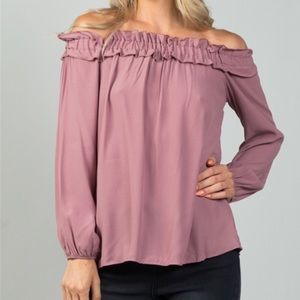 MAUVE OFF THE SHOULDER FRILLY TOP